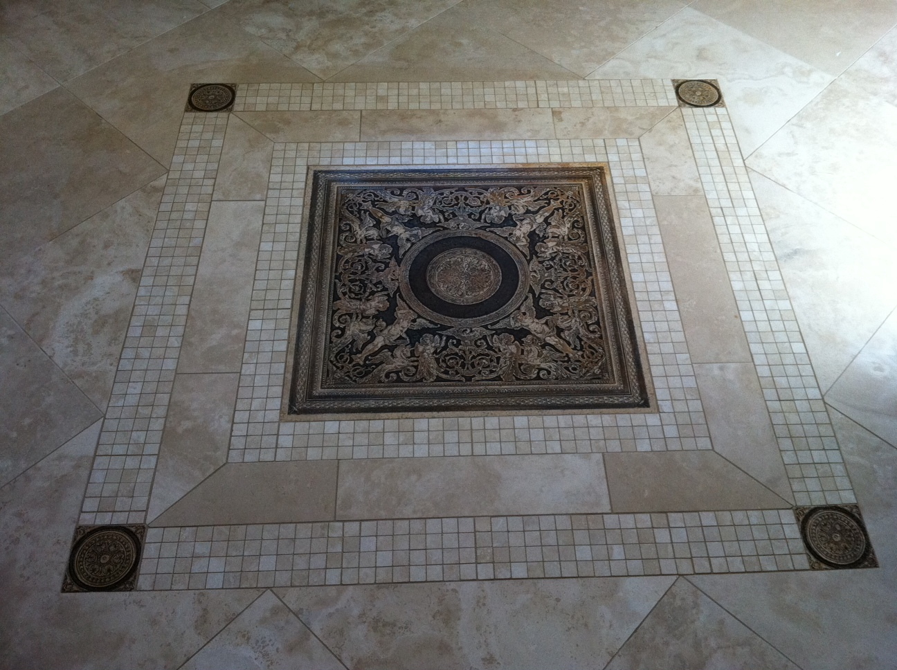 Floor medallian mc tile design inc Unique floor tile designs